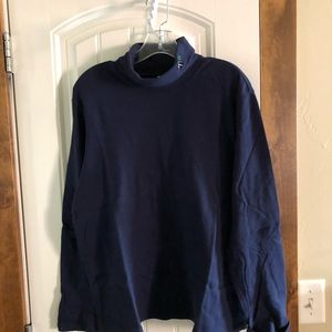 Holiday Editions Navy Candy Cane Turtleneck-Sz. XL
